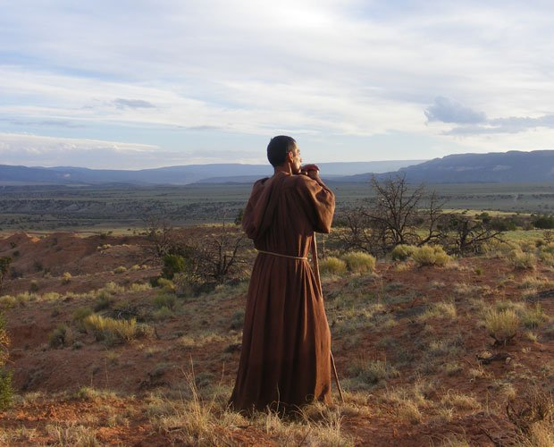 Promotional image of a Franciscan monk from the documentary