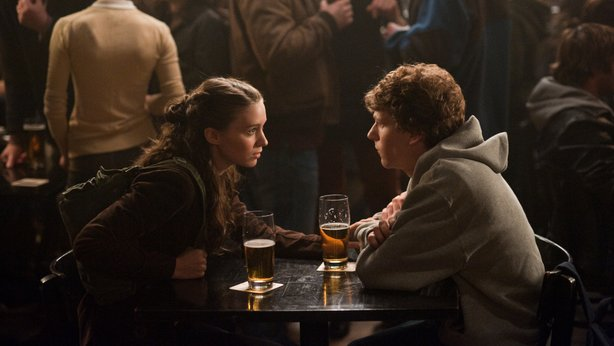 "It all starts with a girl... or being rejected by one. Rooney Mara and Jesse Eisenberg in ""The social Network."""