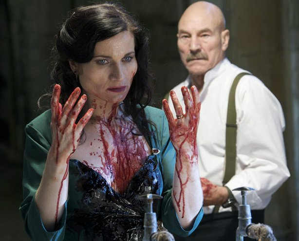 "Sir Patrick Stewart in the title role looks on at his wife, Lady Macbeth, played by Kate Fleetwood, after she commits her terrible deed in the Great Performances production of ""Macbeth."""