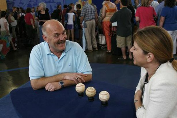 At ANTIQUES ROADSHOW in Philadelphia, Pa., appraiser Leila Dunbar of Sotheby's scores a home run when she discovers this set of three autographed baseballs. Inherited by the owner and his sister from the estate of a father they never knew, the balls feature signatures from the 1944 St. Louis Cardinals, Ted Williams in his 1939 rookie season and an authenticated autograph from Babe Ruth in the late 1940s. Together, this triple play is valued at $34,000 to $46,000.