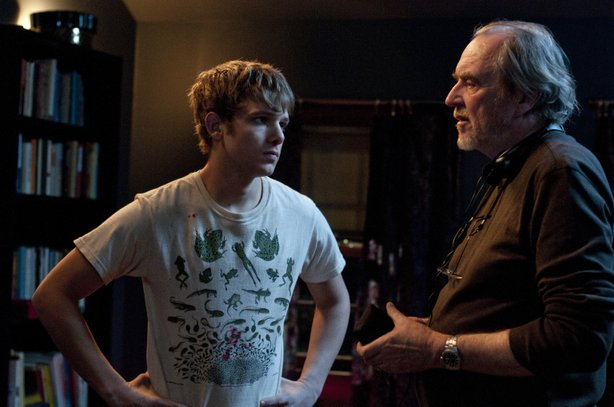 "Max Thieriot and director Wes Craven on the set of ""My Soul to Take."""