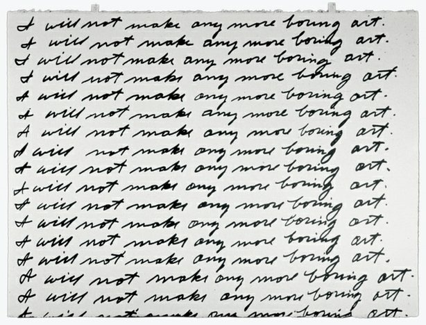 John Baldessari, I Will Not Make Any More Boring Art, 1971. Lithograph, 22 1/...