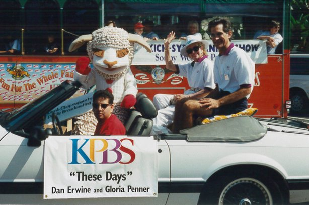 Lamb Chop (AKA Tammy Carpowich), These Days hosts Gloria Penner and Dan Erwine and KPBS staffer Rick Aviles at the America's Finest City Parade in 1995.