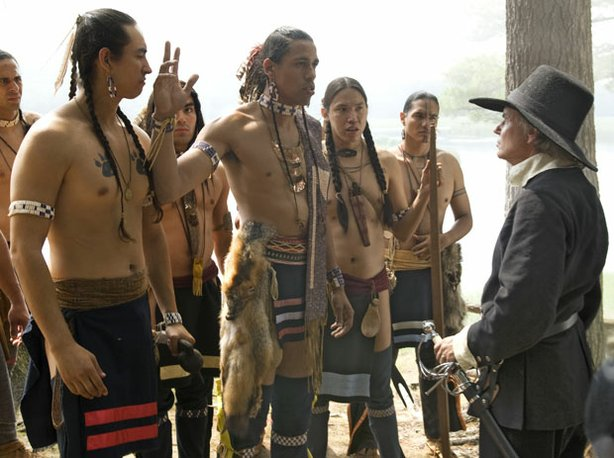 Pictured: Re-enactment of meeting of Wampanoag tribesmen and a settler. Begin...