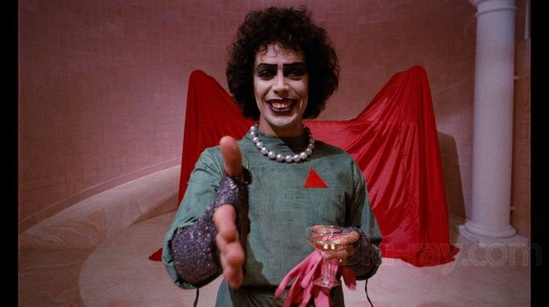 "TimCurry as Dr. Frank-n-furter in the cult classic ""Rocky Horror Picture Show."""