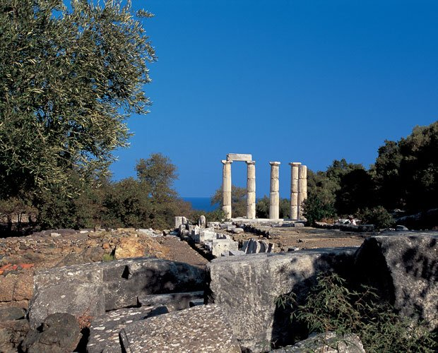Scenic photo of the island of Samothrace, Greece. The Greek origins of the my...
