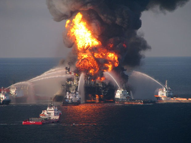 The Deepwater Horizon offshore rig days after the explosion that killed 11 an...