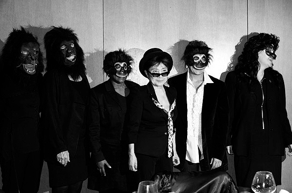 "Guerrilla Girls reinvent the ""F-Word"" this Wednesday at a performance workshop. Love this pic of Yoko Ono with the artists known for their performance art, guerrilla masks and taking the name of deceased female artists."