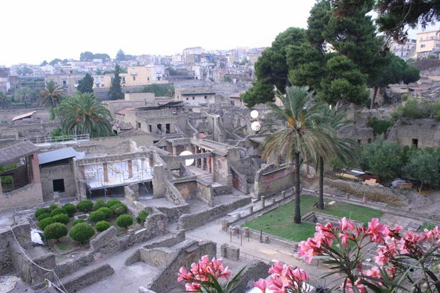 Ariel view of the ruins of Herculaneum, a seaside town in Italy's Bay of Napl...