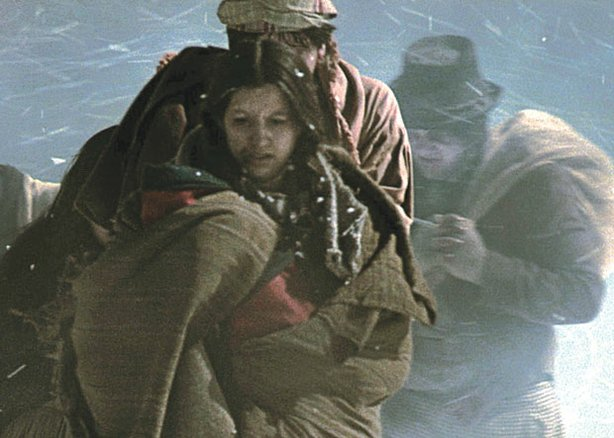 Still photo from a reenactment of Cherokee forced from their homes from the f...