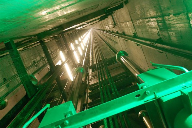 Looking up the hoistway of the world's longest elevator at the Burj Dubai.