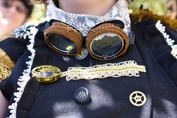 Steampunk goggles, a wardrobe staple for steampunk attire.