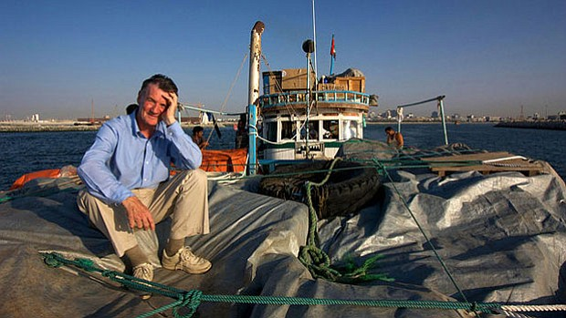 Promotional photo of Michael Palin on a boat from