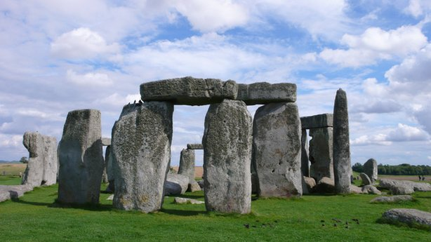 A photo of Stonehenge, Salisbury Plain, in southern England.