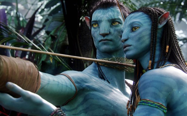 "Sam Worthington (in Na'vi form) and Zoe Saldana in ""Avatar."""
