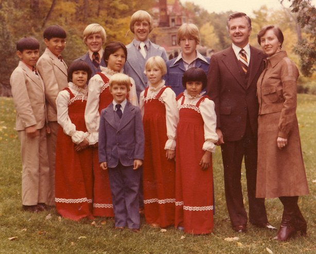 A Billing family portrait taken in December of 1977. This is the last family photograph taken before the two Crow Indian boys, Tyler and Bobby (far left), were struck by a train in June, 1978.
