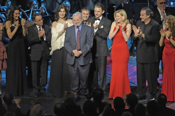 "Stephen Sondheim stands on stage with the cast from ""Great Performances: Sondheim! The Birthday Concert,"" which included Laura Benanti, Michael Cerveris, Victoria Clark, Jason Danieley, Joanna Gleason, Nathan Gunn, George Hearn, Patti LuPone, Marin Mazzie, Audra McDonald, Donna Murphy, Karen Olivo and dancers from the current ""West Side Story"" revival, Mandy Patinkin, Bernadette Peters, Elaine Stritch and Chip Zien."