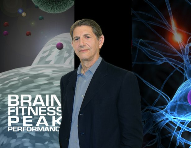 "Title graphic for ""Brain Fitness Peak Performance"" featuring host Peter Coyote."