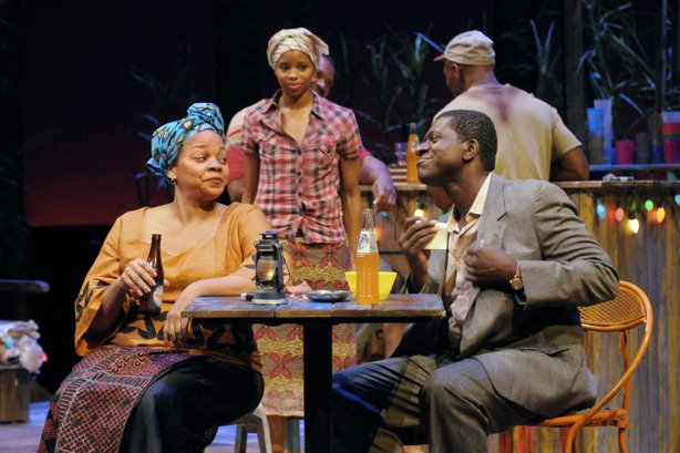 "(l-r) Tonye Patano as ""Mama Nadi,"" Carla Duren as ""Sophie"" and Oberon K.A. Adjepong as ""Christian"" in La Jolla Playhouse's production of RUINED. photo by Kevin Berne."