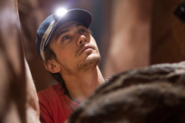 "James Franco gets stuck between a rock and a hard place in ""127 Hours."""
