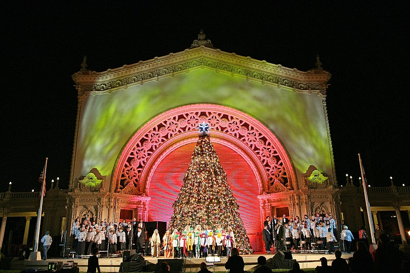 The Christmas Story Tree at Balboa Park's December Nights.