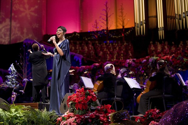Grammy Award-winner Natalie Cole performs on stage with the Mormon Tabernacle...