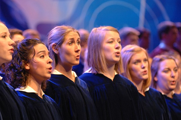 Members of the Concordia Choir of Moorhead, Minnesota perform René Clausen's ...