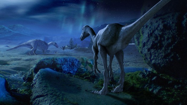 Troodon hunting for hadrosaur. This program aims to explain how dinosaurs man...