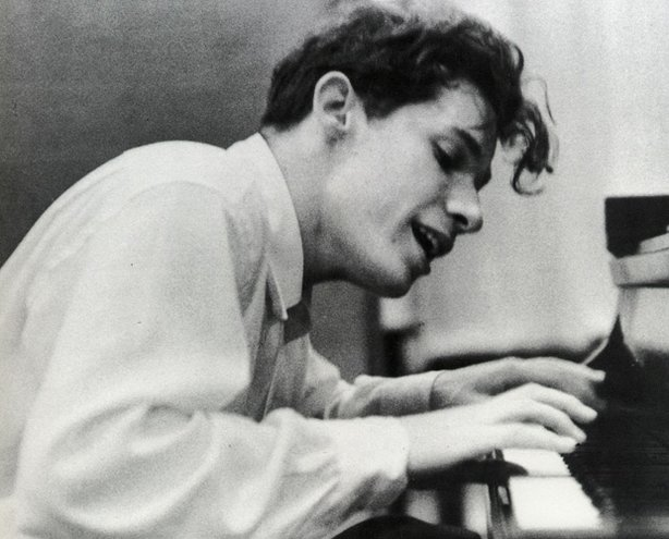 "Glenn Gould at his debut recording of Bach's ""Goldberg Variations."" Columbia Records, New York City, 1955"