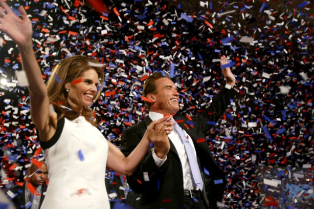 Republican Arnold Schwarzenegger is joined by wife Maria Shriver as he celebrates his victory in the California gubernatorial recall election on Oct. 7, 2003, in Los Angeles.