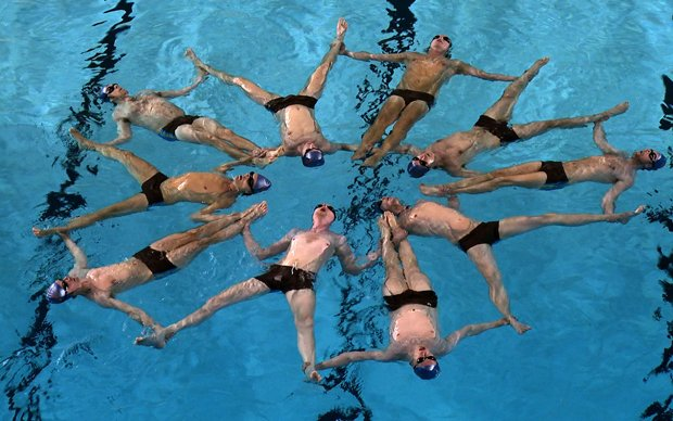 Swimmers from Sweden's all-male synchronized swimming team perform