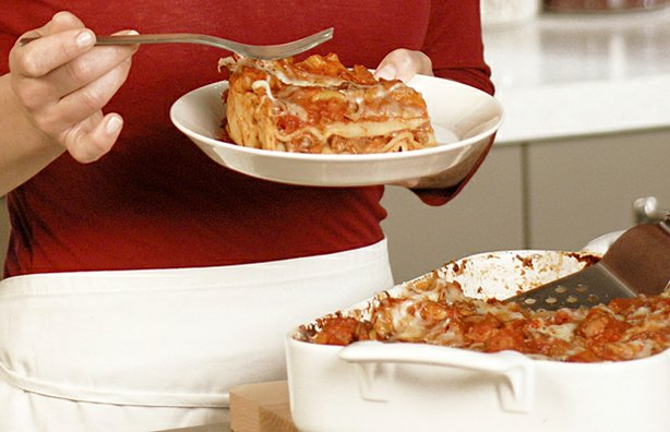 "Promotional photo of a plate of lasagna from ""Everyday Food."""