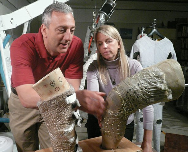 Dava Newman (pictured with Mike Massimino) at MIT wants to design a space suit for future Mars explorers that's more Captain Kirk than Neil Armstrong. Today's space suits are mini space-ships, cumbersome oxygen-filled balloons that provide life-saving air pressure, but which are notoriously difficult to move and work in.