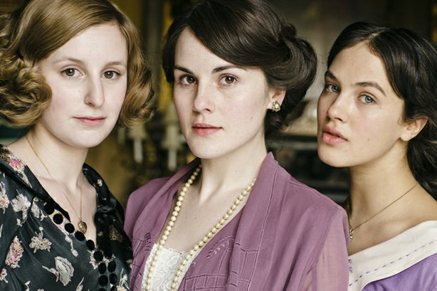 "Pictured (L-R): Laura Carmichael (Lady Edith Crawley), Michelle Dockery (Lady Mary Crawley), Jessica Brown-Findlay (Lady Sybil Crawley) from the television series ""Downton Abbey"""