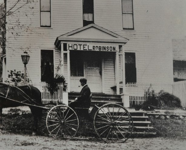 Historical photo of the Hotel Robinson, now the historic Julian Hotel. It was built by Margaret and Albert Robinson who ran the hotel from 1887 to 1915.