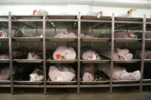 Bodies at the Los Angeles County coroner's office, one of the biggest and bus...