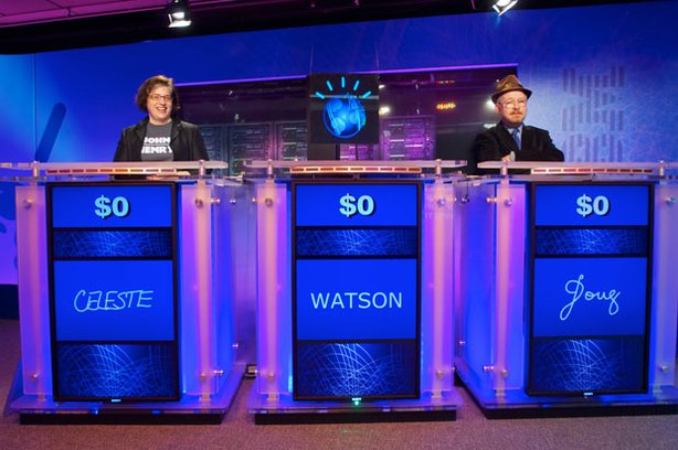 """Jeopardy!"" panel at IBM's Watson Research Center: Celeste, Watson and Doug."