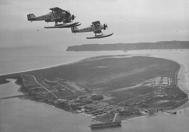 NAS North Island, San Diego, CA. View taken about 1926, showing Curtiss TS-2 ...