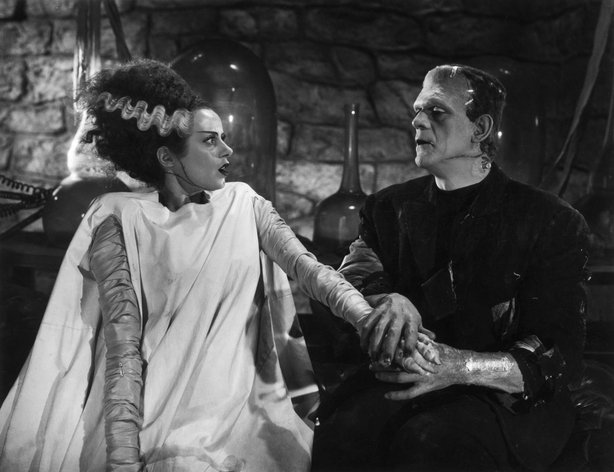 "Elsa Lancaster and Boris Karloff in James Whale's ""The Bride of Frankenstein."""