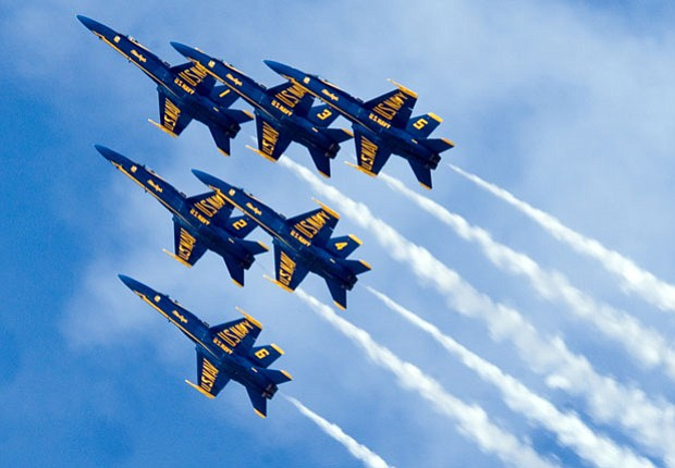 The Blue Angels in flight.