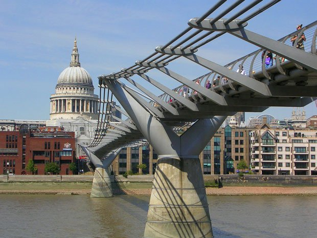 Millennium Bridge across the Thames linking the city of London at St. Paul's ...