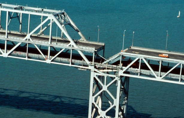 Roadbed collapse near the interface of the cantilever and truss sections of the San Francisco-Oakland Bay Bridge