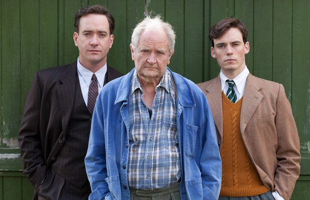 "(left to right) Matthew Macfadyen, Jim Broadbent and Sam Claflin as Logan Mountstuart at various stages of his life. Celebrated writer William Boyd's best-selling novel ""Any Human Heart"" is adapted as a stunning MASTERPIECE miniseries about a man — at various times a writer, lover, prisoner of war and spy — making his often precarious way through the 20th century."