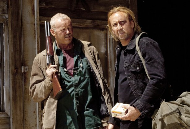 "David Morse and Nicolas Cage star in ""Drive Angry."""