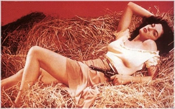 "Jane Russell in ""The Outlaw."""