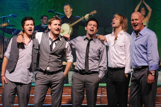 Celtic Thunder: Damian, Paul, Ryan, Keith and George perform on stage in thei...
