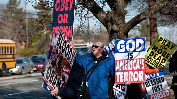 Members of the Westboro Baptist Church of Topeka, Kan., staged a protest acro...