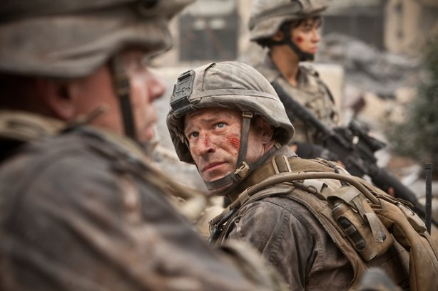 "Aaron Eckhart stars in ""Battle: Los Angeles."""