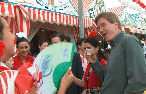 Rick Steves enjoying the festival of San Fermin in the city of Pamplona, Spain