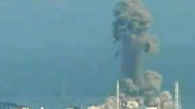 A screen grab taken from news footage by Japanese public broadcaster NHK show...